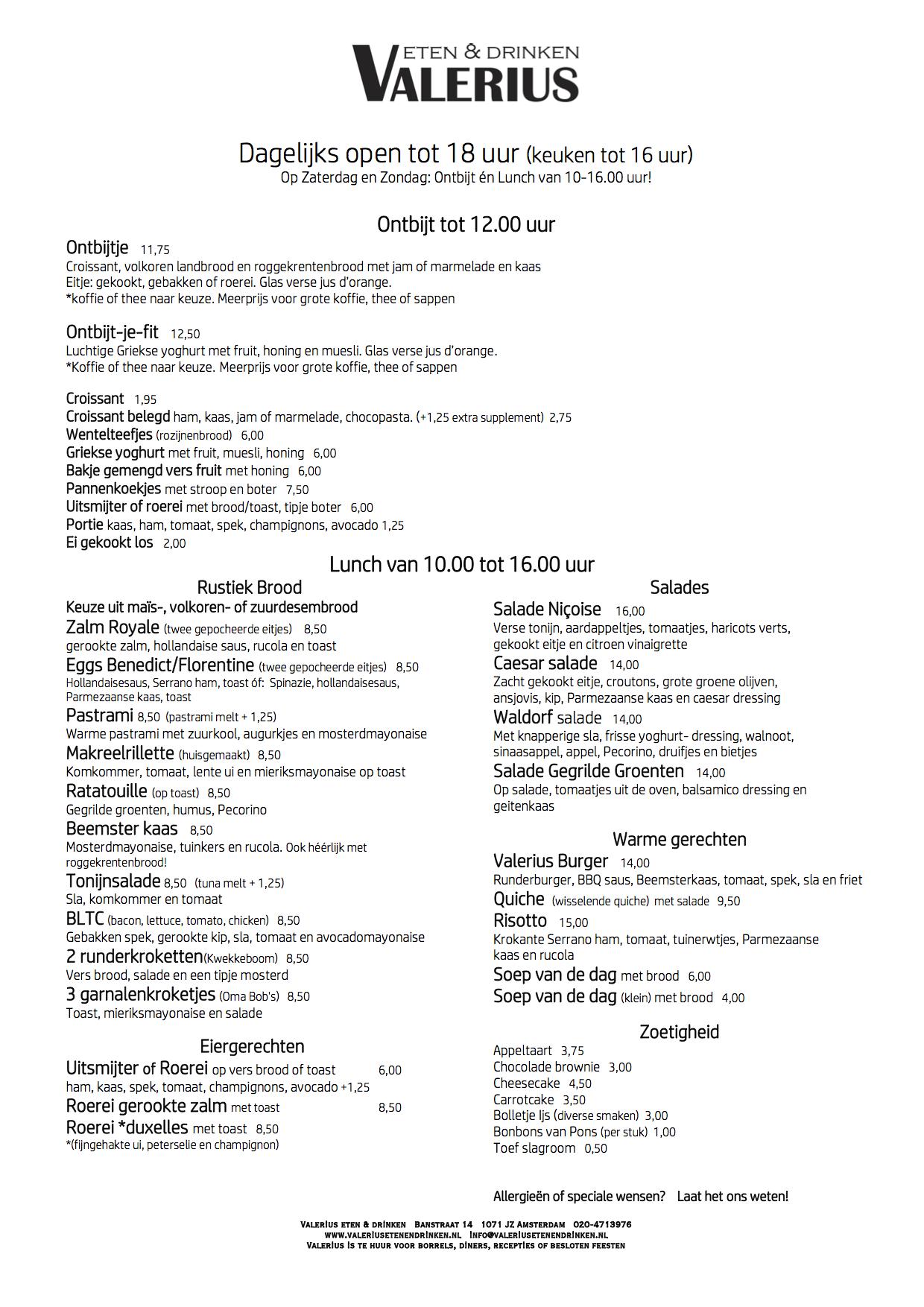 menukaart menu valerius eten en drinken